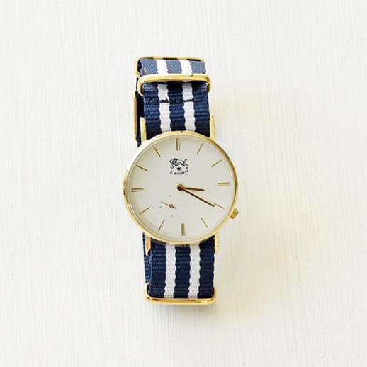 IL BISONTE(イルビゾンテ)腕時計 C-02 ゴールド×ブルーストライプ