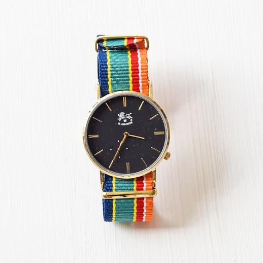 IL BISONTE(イルビゾンテ)腕時計 C-04 ゴールド×マルチストライプ