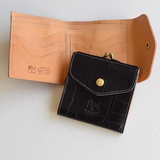 IL BISONTE(イルビゾンテ)折財布 54182307240 L-76 ブラック×ヌメ