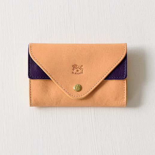 IL BISONTE(イルビゾンテ)カードケース 54182309393 L-42 ヌメ×バイオレット×マスタード