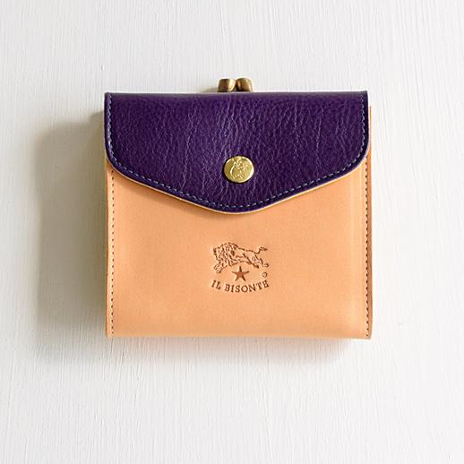 IL BISONTE(イルビゾンテ)折財布 54182311240 L-42 ヌメ×バイオレット×マスタード