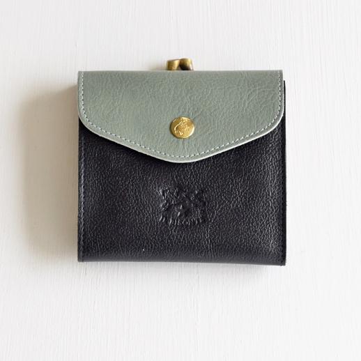 IL BISONTE(イルビゾンテ)折財布 54182311240 L-43 クロ×セージ×アイボリー